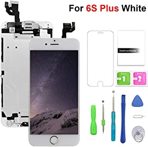 Compatible with iPhone 6s Plus Screen Replacement White,(5.5'') LCD Display with 3D Touch Screen Digitizer Full Assembly+Home Botton+Front Camera+Earpiece+Free Screen Protector+Repair Tools Kit
