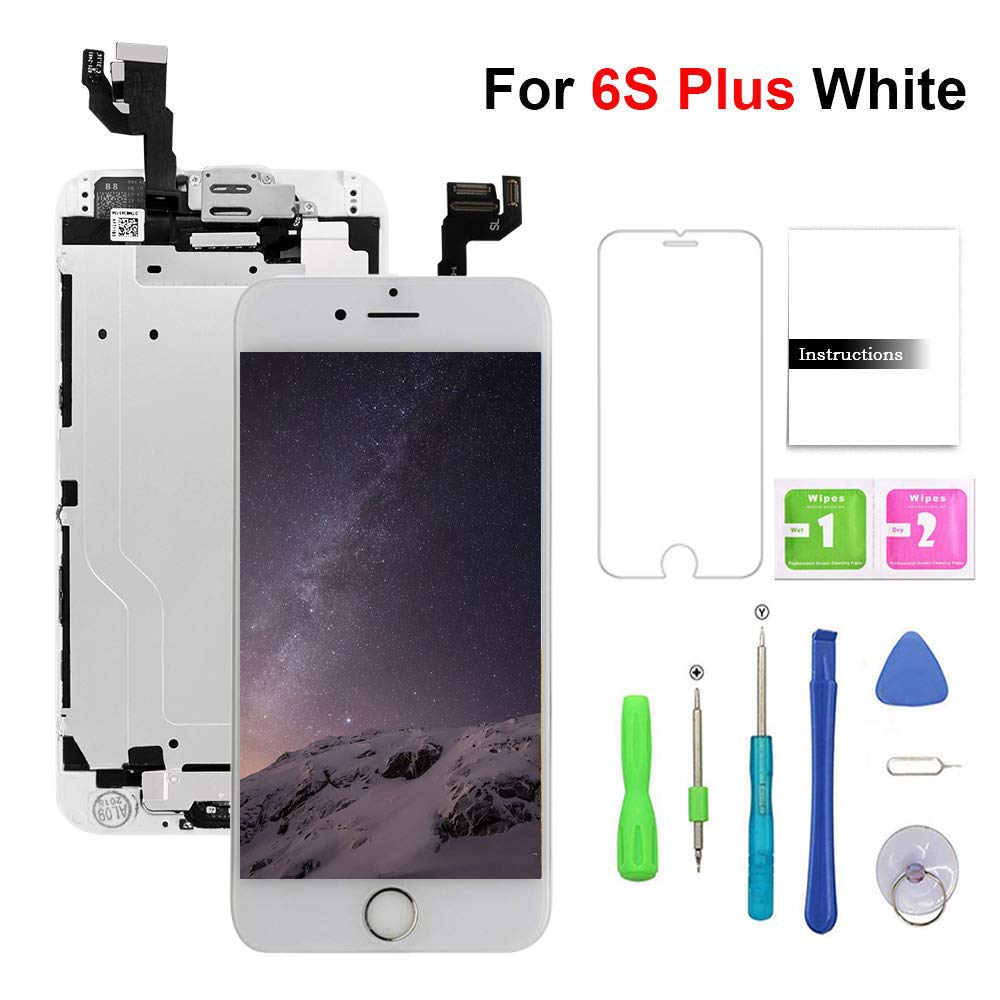 Screen Replacement for iPhone 6s Plus White LCD Display & Touch Screen Digitizer Replacement with Frame Spare Parts (Home Button,Front Camera, Sensor Flex, Earpiece Speaker) + Repair Tools (5.5'')