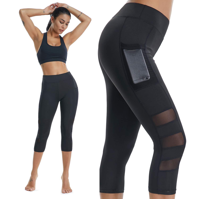 High Waist Fitness Yoga Sport Leggings, Running Pants with Pocket in Black& Mesh& Pocket Designed