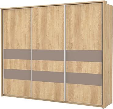 armario armario de puertas correderas Lepa 02, color: roble marrón/marrón – Dimensiones: 225 x 278 x 64 cm (H x B x T): Amazon.es: Bricolaje y herramientas