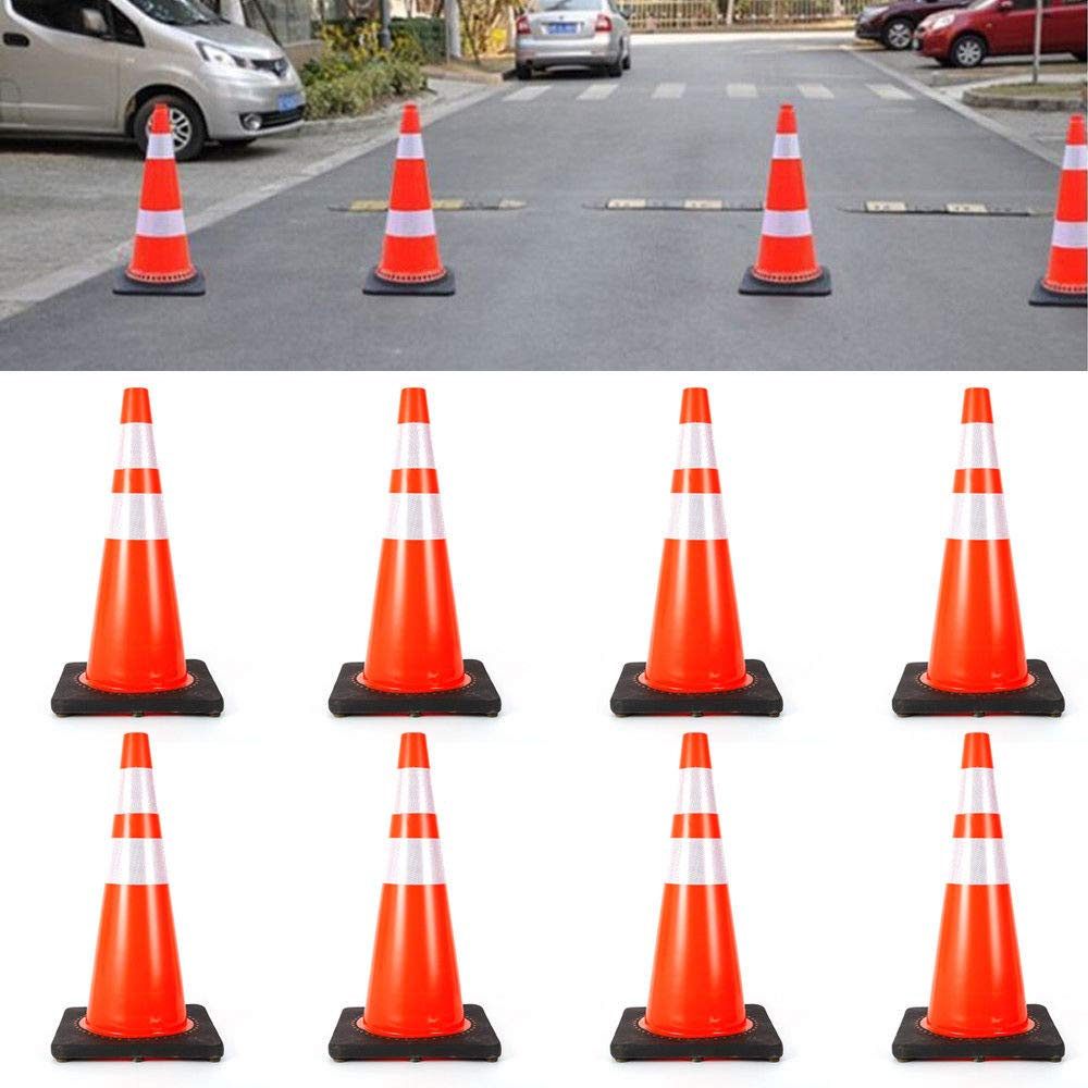 Road Traffic Cones, 8x28'' Fluorescent Orange Reflective Road Safety Parking Cones Construction Road Path Emergency Parking Safety Traffic Cone PVC (USA Stock)