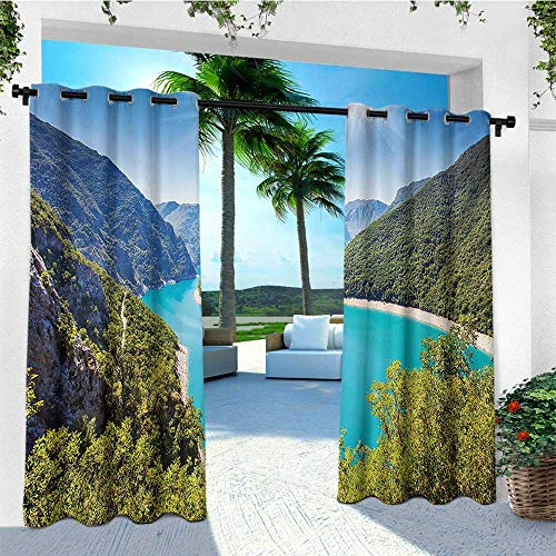 leinuoyi European, Outdoor Curtain Extra Wide, The Piva Canyon with Reservoir Montenegro Balkans Europe Sunlights, for Patio Waterproof W120 x L108 Inch Aqua Sky Blue Forest Green