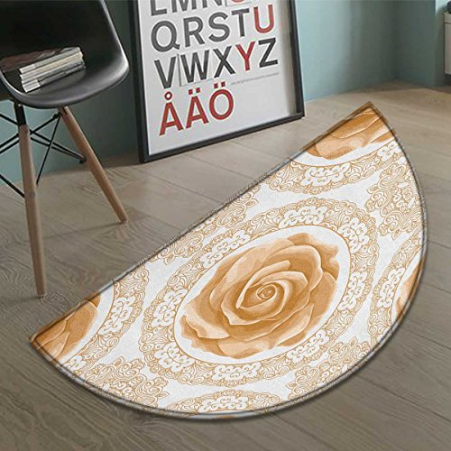 (Suchashome Floral half moon door mats for home Rose Florets with Classic Golden Lace Authentic Feminine Retro Oriental Motif Bath Mat Bathroom Mat with Non Slip Sand Brown White size:31.5