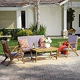 Manarola | 4-Piece Outdoor Acacia Wood Chat Set | in Teak Finish/Grey