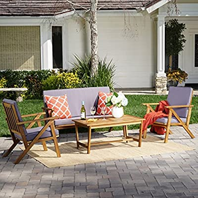 Manarola | 4-Piece Outdoor Acacia Wood Chat Set | in Teak Finish/Grey