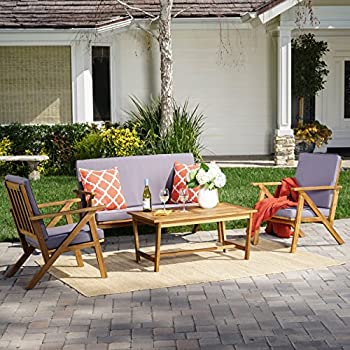 Wonderful Christopher Knight Home 300251 Manarola 4 Piece Outdoor Acacia Wood Chat  Set | In Teak Finish/Grey