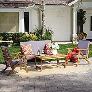 Manarola Patio Furniture ~ 4 Piece Outdoor Patio Conversation (Chat) Set (Natural Wood Finish)