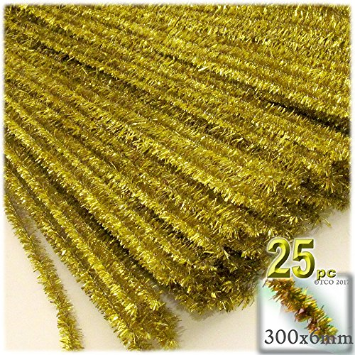The Crafts Outlet Chenille Sparkly Stems, Pipe Cleaner, 12-in (30-cm), 25-pc, Light Gold