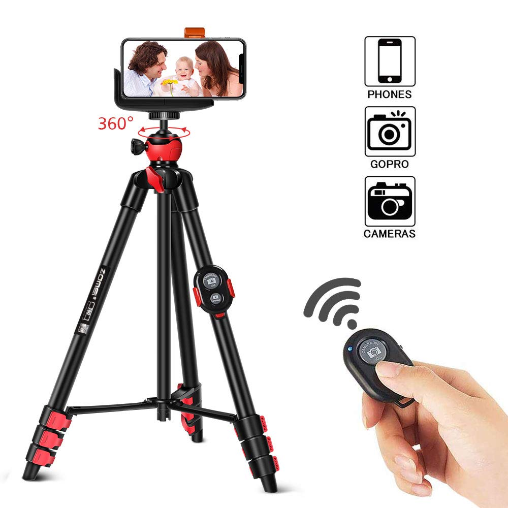 Travel Tripod Set for Smartphone, Zomei Lightweight Tripod with Compact Phone Holder Mount & Bluetooth Remote Control & Portable Tripod Bag for Huawei, iphone,Gopro,Camera etc