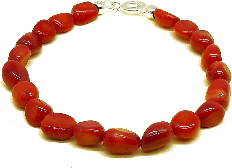 El Coral Pulsera Rojo Bolas Barrocas y Cierre Plateado