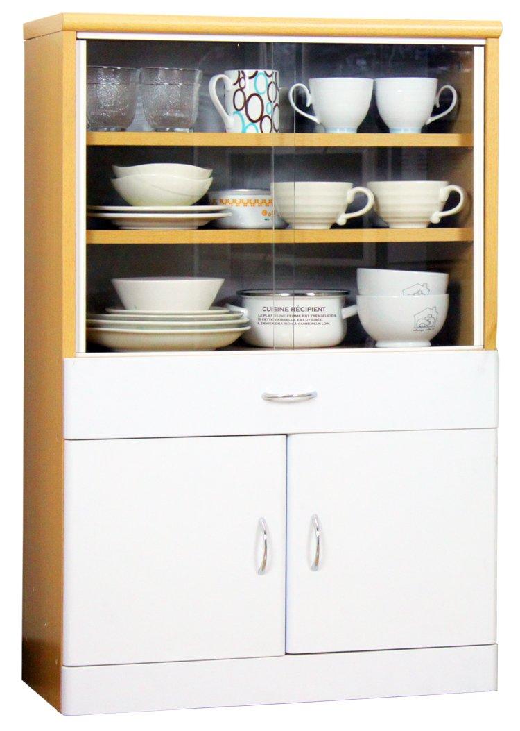 サンニード 食器棚 IS-600 ナチュラル ホワイト 幅60cm 奥行31cm 高さ90cm 木製 B00JGOWGHQ  ホワイト/ナチュラル