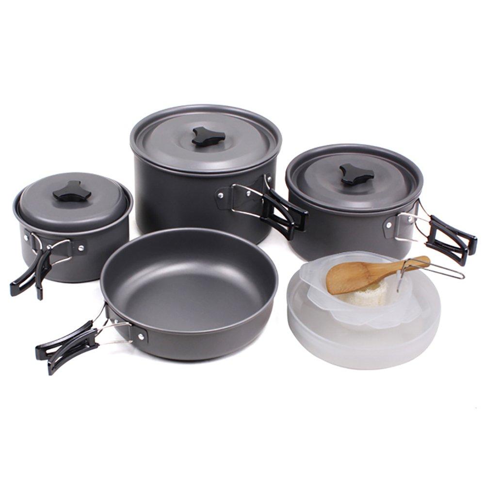 SKYSPER Camping Pot Pan Cookware Kit Outdoor Aluminum Hiking Cooking Set Travel for BBQ Picnic