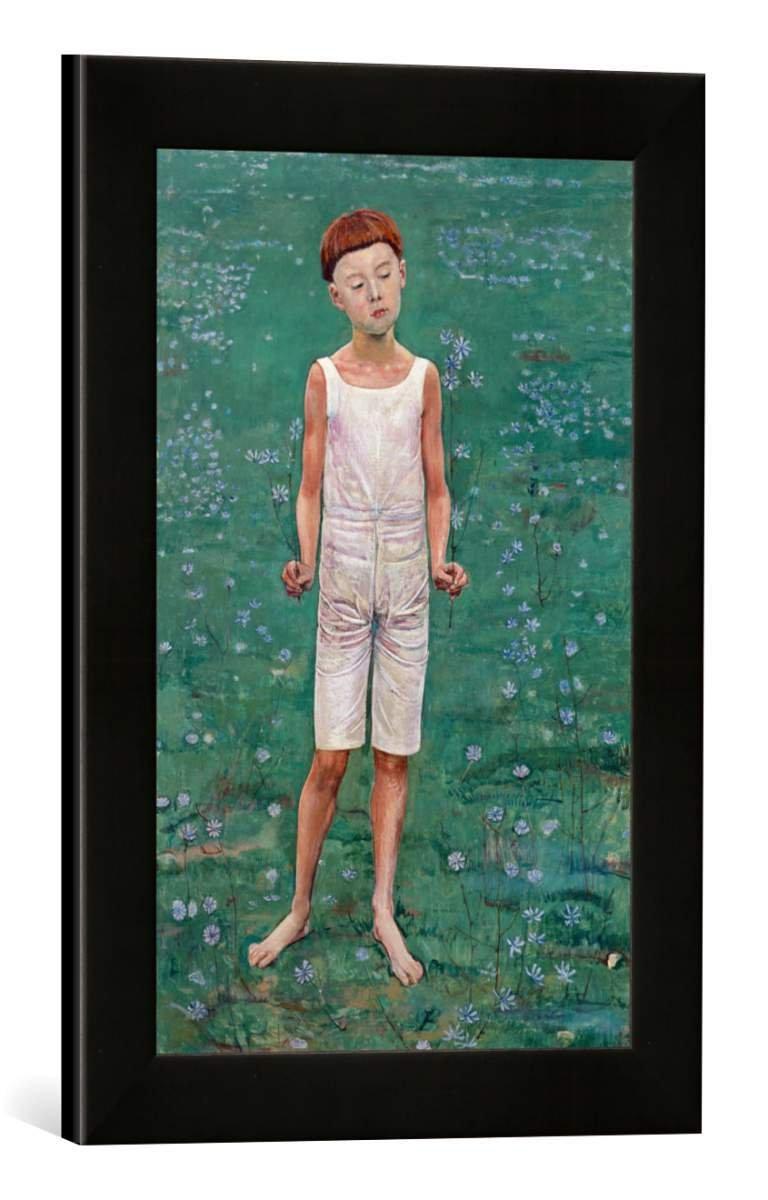 Gerahmtes Bild von Ferdinand Hodler Anbetung. Studie zum Auserwählten, Kunstdruck im hochwertigen handgefertigten Bilder-Rahmen, 30x40 cm, Schwarz matt