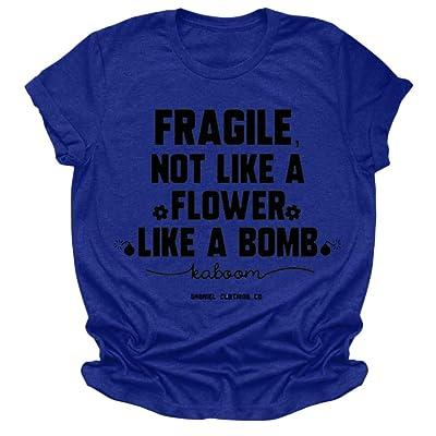 Xinantime Womens Short Sleeve Shirt Casual T-Shirt Letter Print Tee Shirt Round Neck Short Sleeve Blouse: Clothing