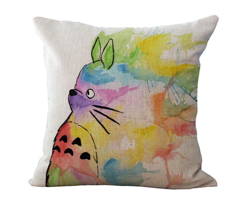 hometaste cute totoro decorative linen throw pillow cover 18x18