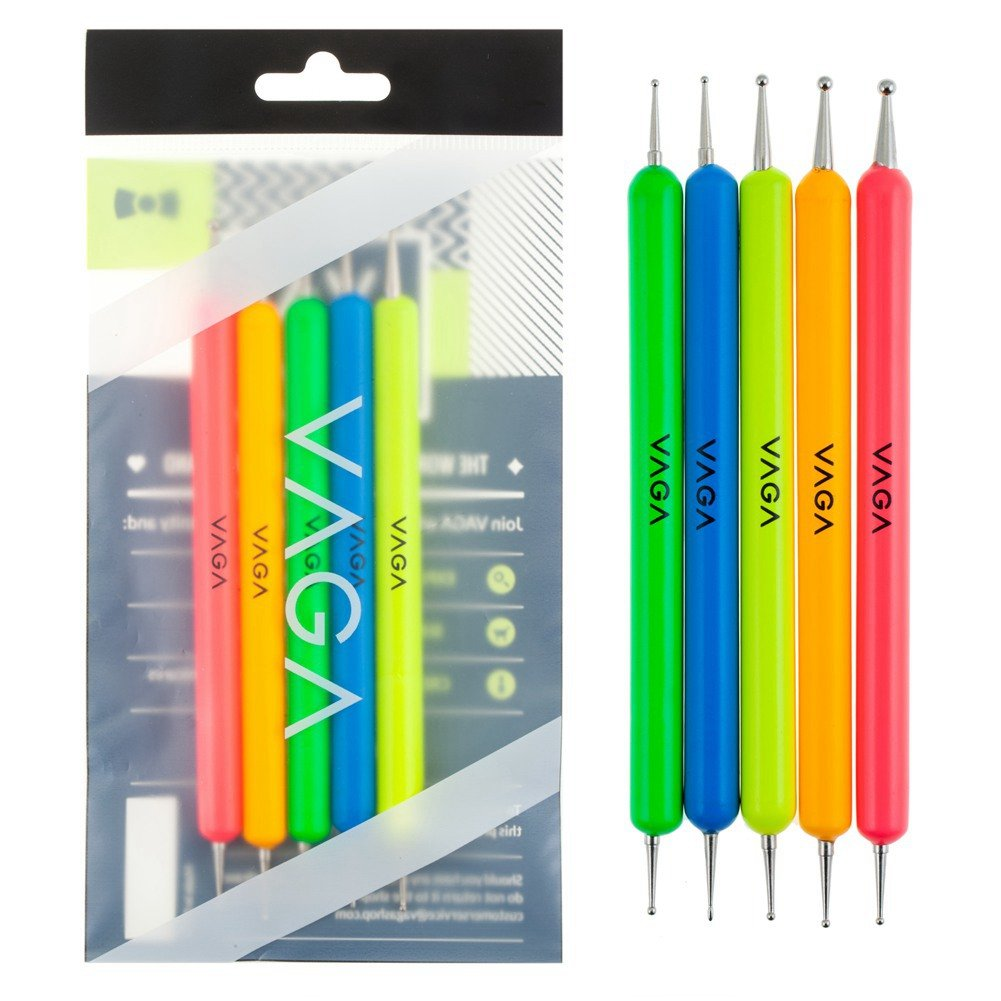 Professional Nail Art Designs Set of Double Ended Dotters/Dotting/Marbling/Detailing Tools In 5 Different Colors By VAGA