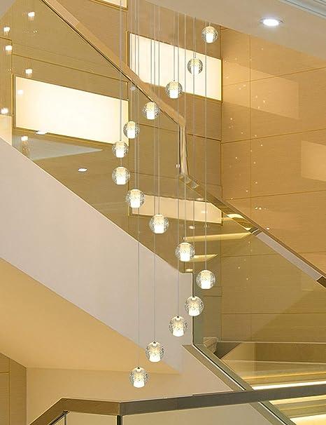 Escaleras giratorias Araña 16 piezas Bolas de vidrio, Restaurante en bar dúplex Villa creativa Villa Luz colgante Escalera moderna y simple Lámpara de araña larga, tamaño grande, 50x200 cm: Amazon.es: Hogar