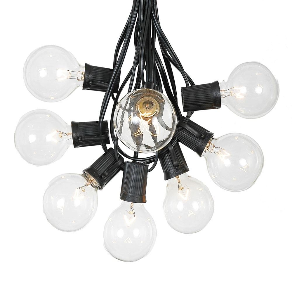 G50 Patio String Lights with 25 Clear Globe Bulbs – Outdoor String Lights – Market Bistro Café Hanging String Lights – Patio Garden Umbrella Globe Lights - Black Wire - 25 Feet