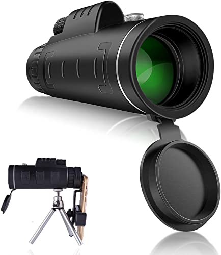 Monocular Telescope 40×60 High Power Quick Smartphone Holder for Adults HD Magnification Waterproof Compact Night Vision with FMC Lens BAK4 Prism Dual Focus for Outdoors Concert Hunting Camping