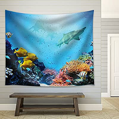 Marvelous Work of Art, Classic Design, Sharks and Colorful Fish Swimming Through Coral Reefs on The Bottom of The Ocean