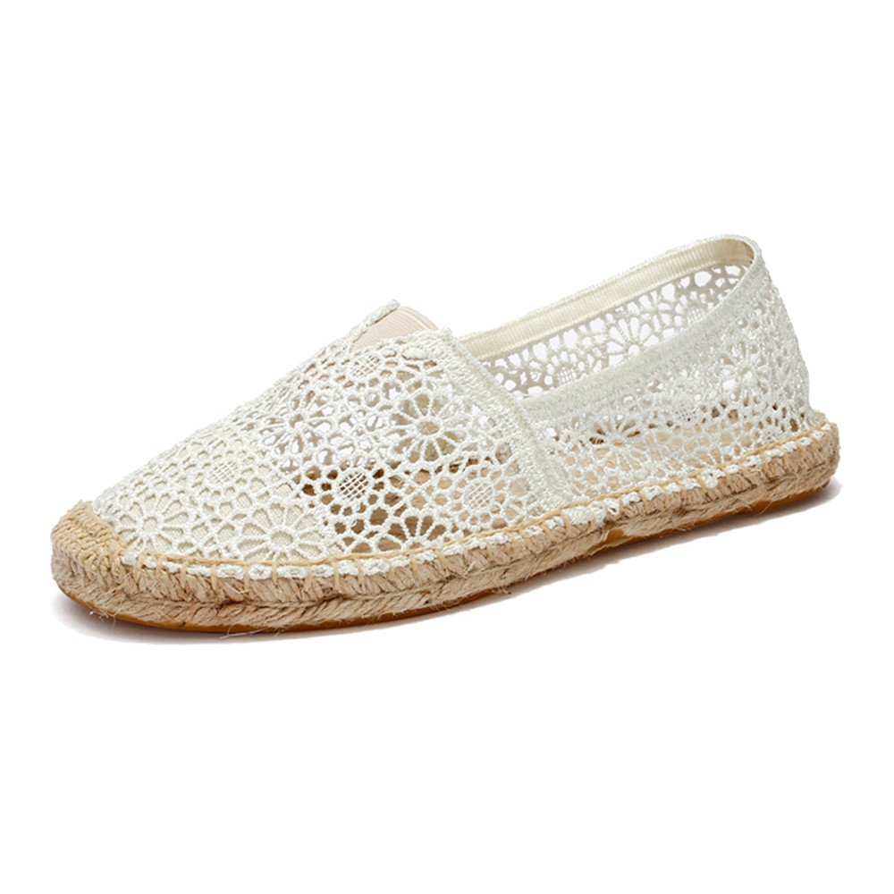 POUGNY Women's Lace Casual Breathable bobs Flats shoes-WHITE40