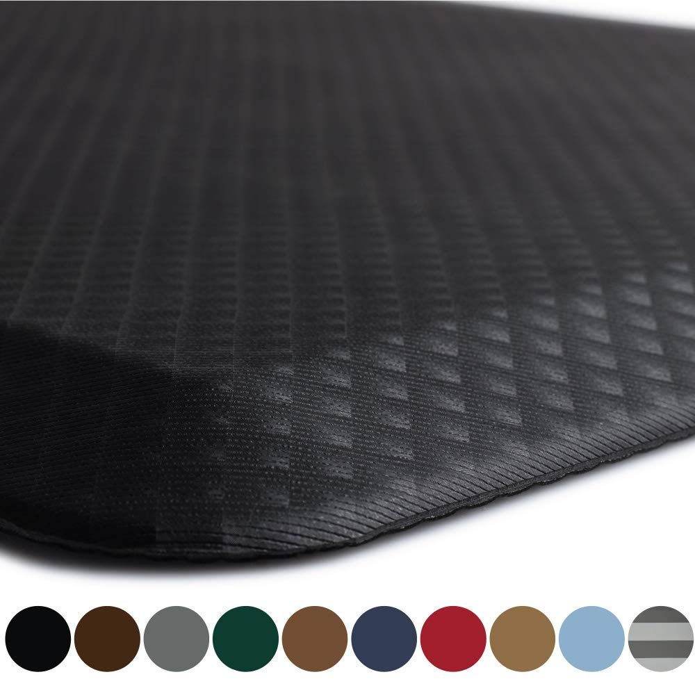 Kangaroo Original Standing Mat Kitchen Rug, Anti Fatigue Comfort Flooring, Phthalate Free, Commercial Grade Pads, Waterproof, Ergonomic Floor Pad for Office Stand Up Desk, 48x20, Black by Kangaroo