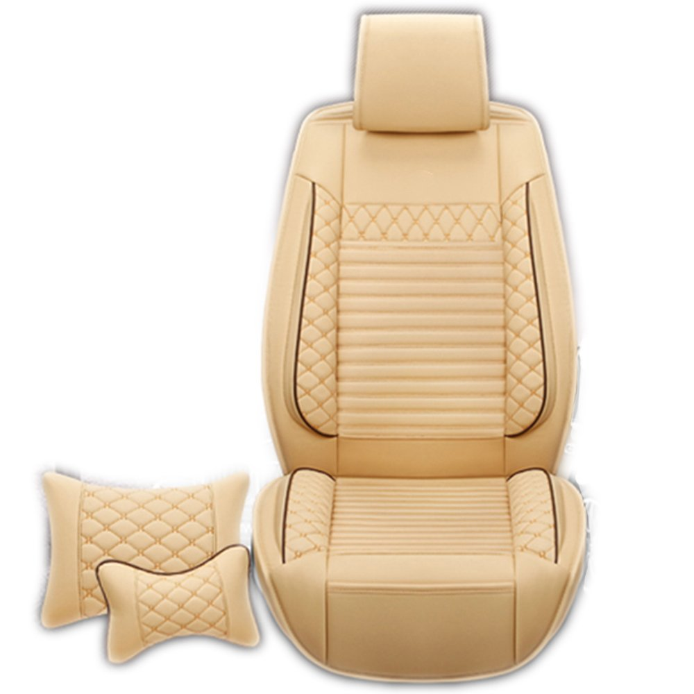 Binglinghua 3D Universal Car Seat Cover Set Microfiber Leather Car Seat Covers 5 Seats 1 Set Car Seat Cushion Pillows As Gift (beige)