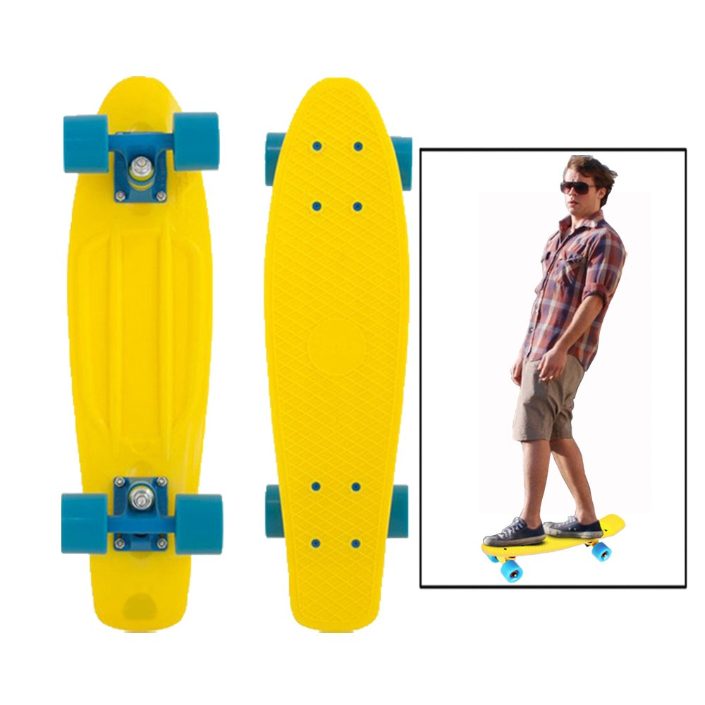 Outdoor Play Durable Yellow Plastic Toy Cubby Skateboard and Much More! 22 inch Retro Style Cruiser Banana Board Holiday Fun