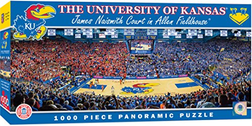 Ku Basketball Kansas - MasterPieces Collegiate Kansas Jayhawks 1000 Piece Stadium (Basketball) Panoramic Jigsaw Puzzle