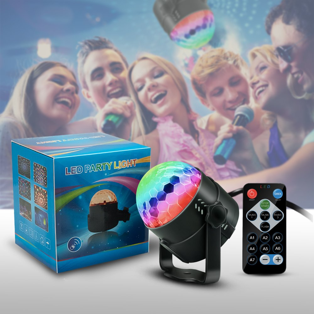 Party Supplies Disco Ball DJ Lights - Sound Activated LED lights with Remote Control RGB Strobe Lamp Stage Light for Home Dance Birthday Bar Karaoke Wedding Show by BOOMRO (Image #8)