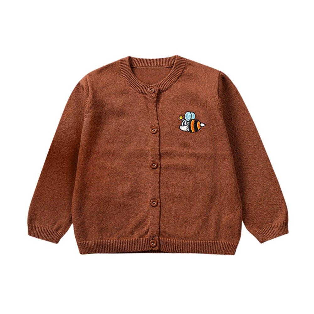 Zerototens Toddler Unisex Baby Button-Up Cotton Coat Boys Girls Knitted Sweater Cardigan Coat Outwear Plain Sweatshirt Autumn Winter Basic Tops 0-3 Years Old