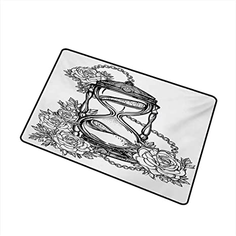 f9810d930 Amazon.com : duommhome Outdoor Doormat Tattoo Pencil Drawing Romantic Theme  Hourglass Symbol of Eternal Love with Roses Print W16 xL20 Quick and Easy  to ...