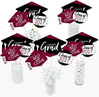 product image for Big Dot of Happiness Maroon Grad - Best is Yet to Come - 2021 Burgundy Graduation Party Centerpiece Sticks - Table Toppers - Set of 15