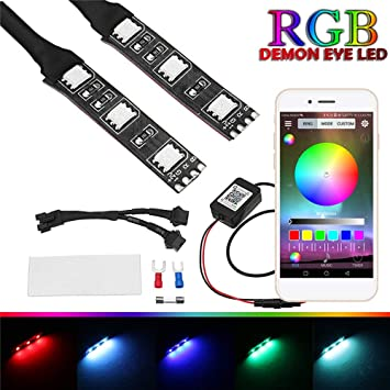 Amazon.com: AIJICHE 2 piezas RGB redondo LED Demon proyector ...