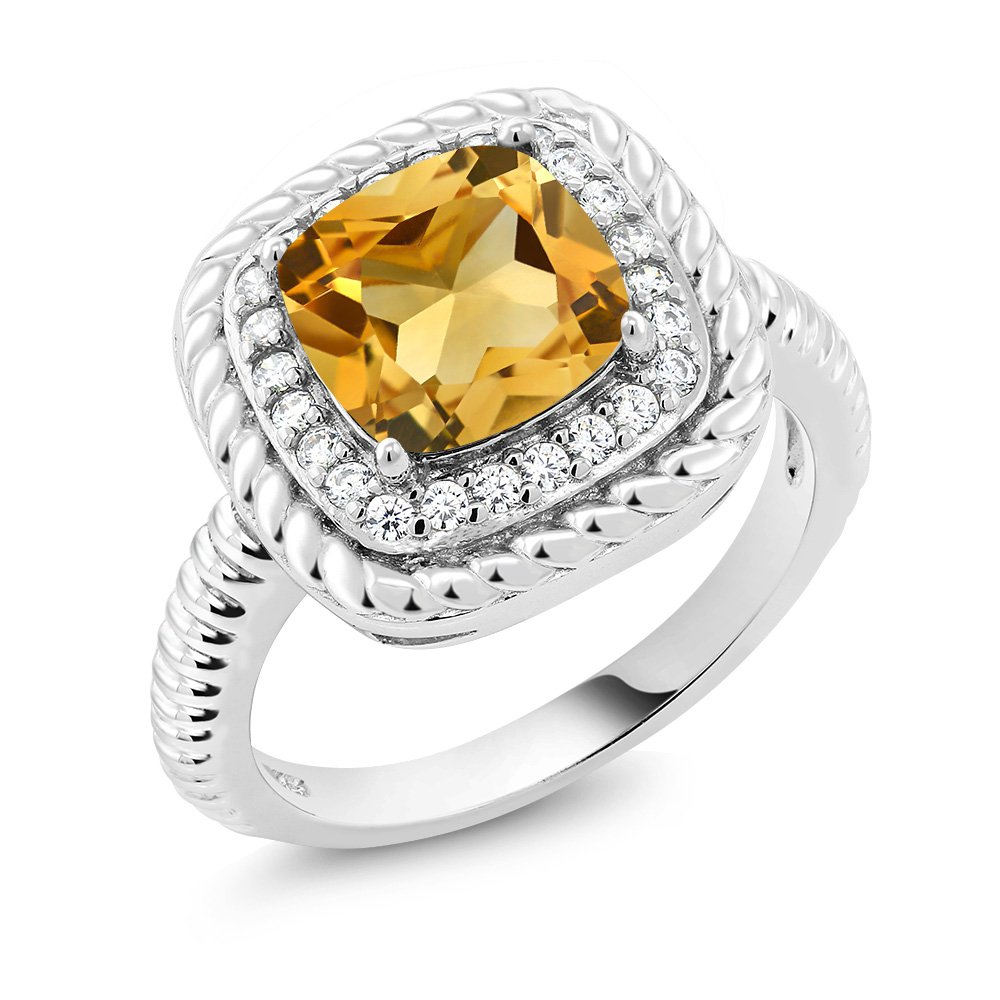 925 Sterling Silver Yellow Citrine Gemstone Engagement Ring 3.00 Ct Cushion Cut (Size 8)