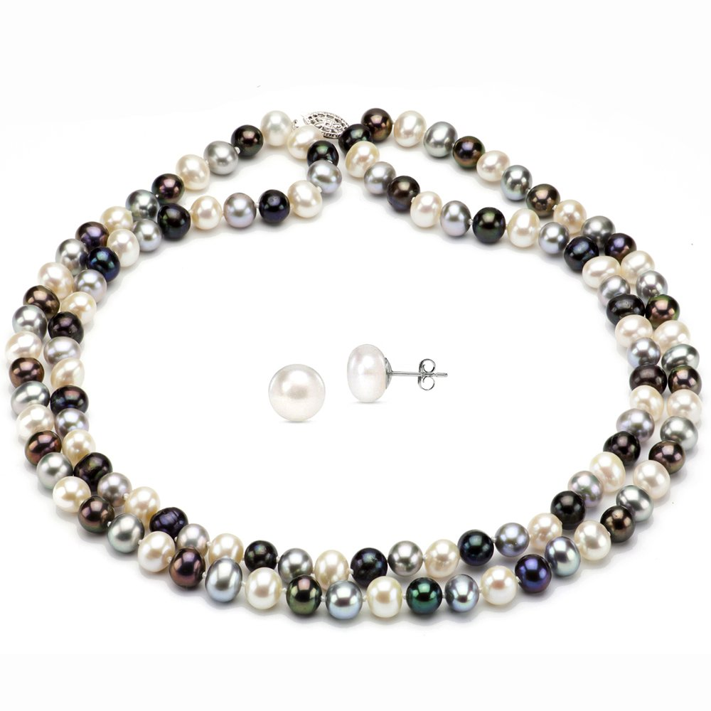Sterling Silver 2-rows 7-7.5mm Dyed Multi-dark Freshwater Cultured Pearl Necklace and Stud Earrings