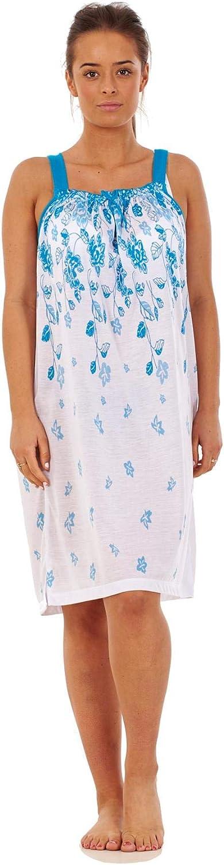 Apparel Ladies Sleeveless Strappy Nightwear 100/% Cotton Short Leaf Nightdress M to 3XL