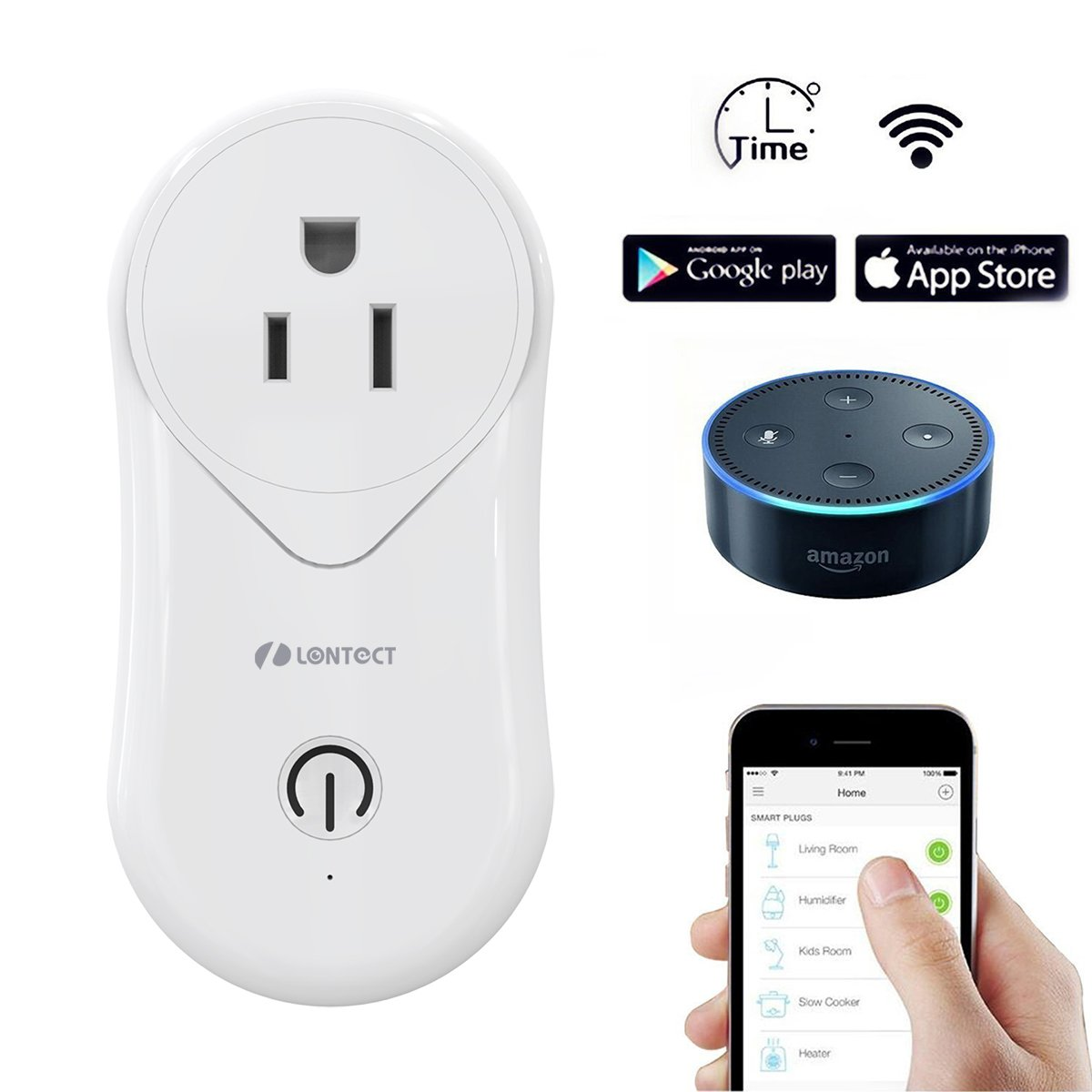 Lontect WiFi Smart Plug with USB Port Mini Outlet Socket App Remote Control No Hub Required Compatible  Alexa Echo Google Home