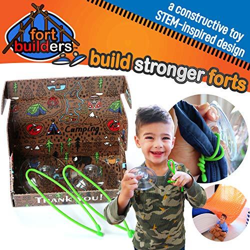 David & Bear Fort Builders Fort Building Kit for Indoor Outdoor Fun & Creative, Imaginative Play (for Window Glass) Fort Builders]()
