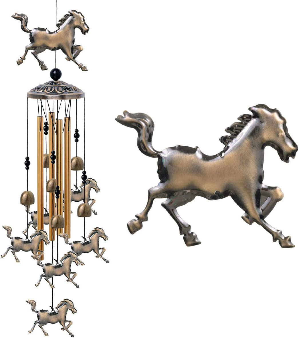 Horse Wind Chimes Decor - 37 Inch Pure Hand-Made Metal Musical Wind Bells With 4 Aluminum Tubes 6 Bells 7 Horses Mobile Wind Catcher Romantic Wind Chime for Home, Festival, Indoor/Outdoor Decoration