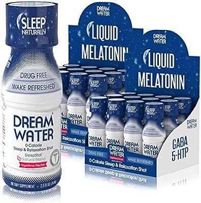 Amazon.com: Dream Water Natural Sleep Aid, GABA, MELATONIN, 5-HTP, 2.5oz Shot, Nighttime Nectar 24 Count: Health & Personal Care