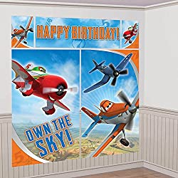 """Amscan DisneyPlanes 2 Birthday Party Scene Setters Wall Decorating Kit (5 Pack), 59"""" x 65"""", Multicolor"""