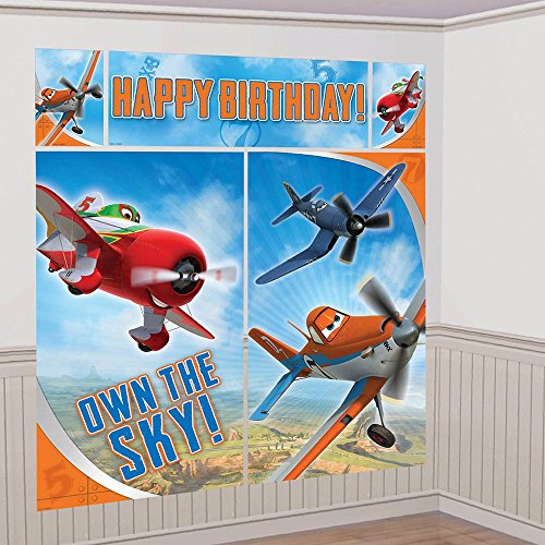 Amscan DisneyPlanes 2 Birthday Party Scene Setters Wall Decorating Kit (5 Pack), 59