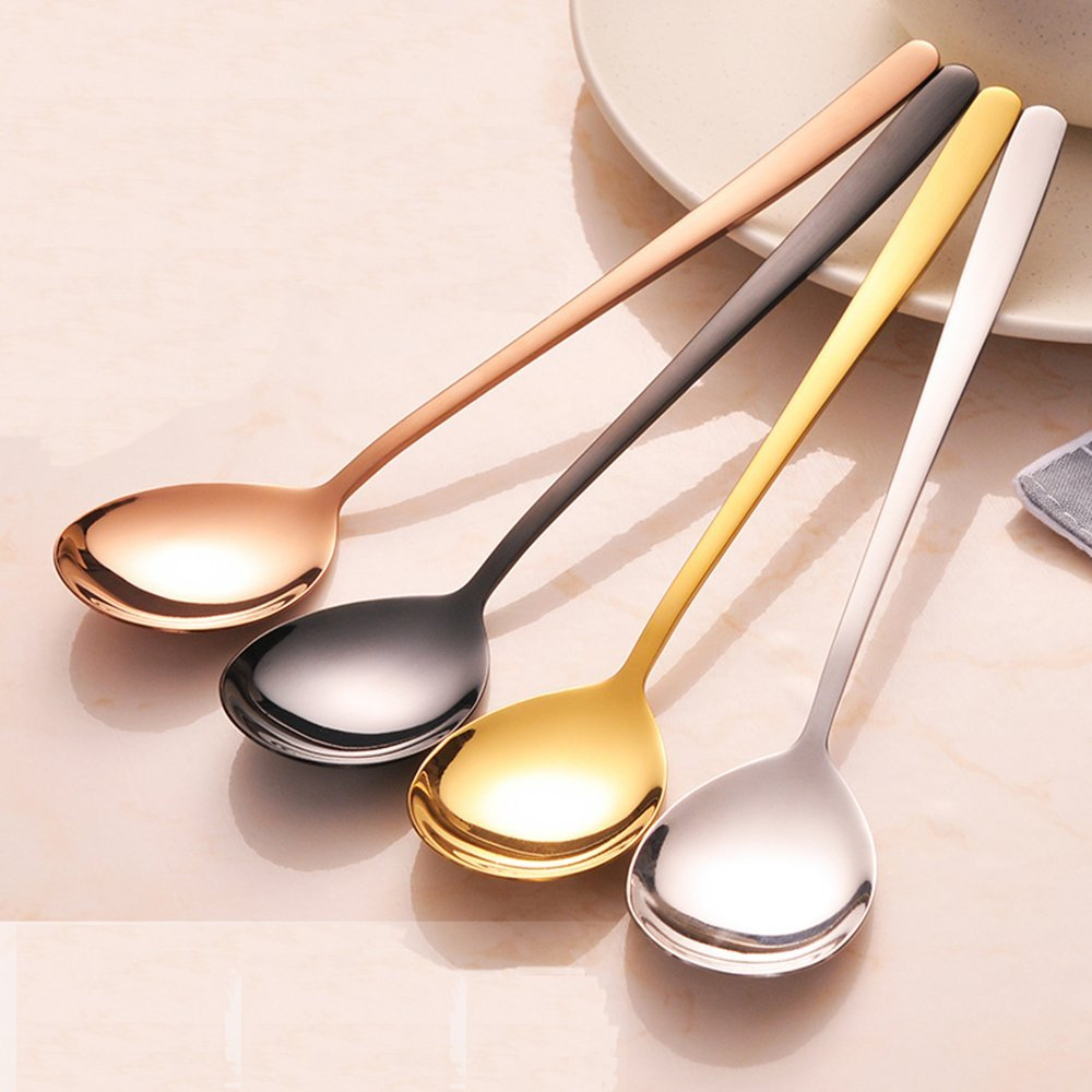Saibang Stainless Steel Long Soup Spoon Table Spoon Tea Spoons, 8-inch, Set of 5 (Rose Gold) TS-I1