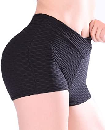 TFO Women's Yoga Shorts High Waist Ruched Butt Lifter Gym Running Sports Athletic Shorts Workout Hot Pants