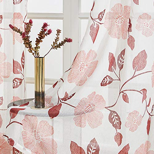 Linen Textured Semi Sheer Curtains 54 inches Long Living Room Burgundy Red Flower Leaves Printed Window Curtain Sheers Bedroom Drapes Print 2 Panels Light Filtering Window Treatment Set Rod Pocket