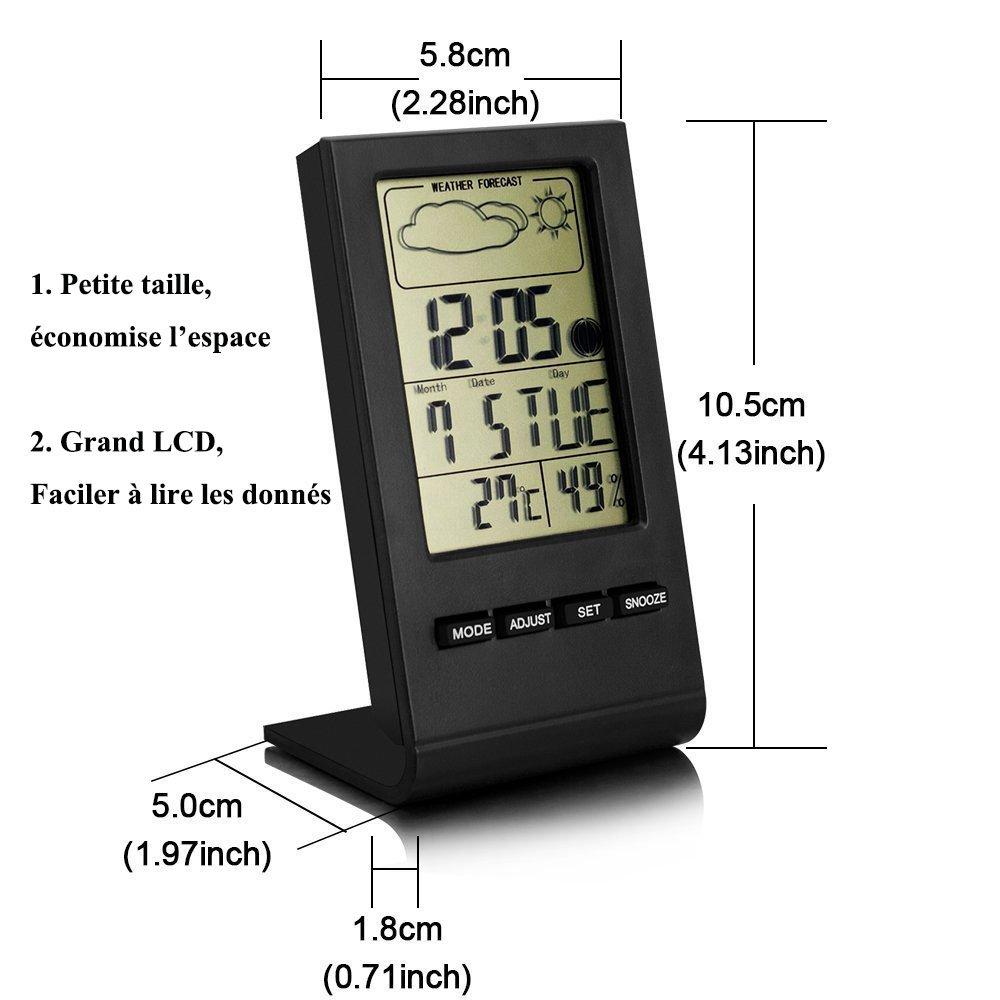 VersionTech Thermomètre Horloge Hygromètre Numérique Station Météo ...
