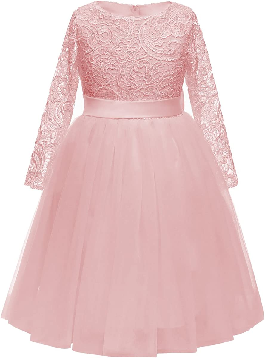 Flower Girl Dress Long Sleeves Lace Top Tulle Skirt Girls Lace Party Dresses