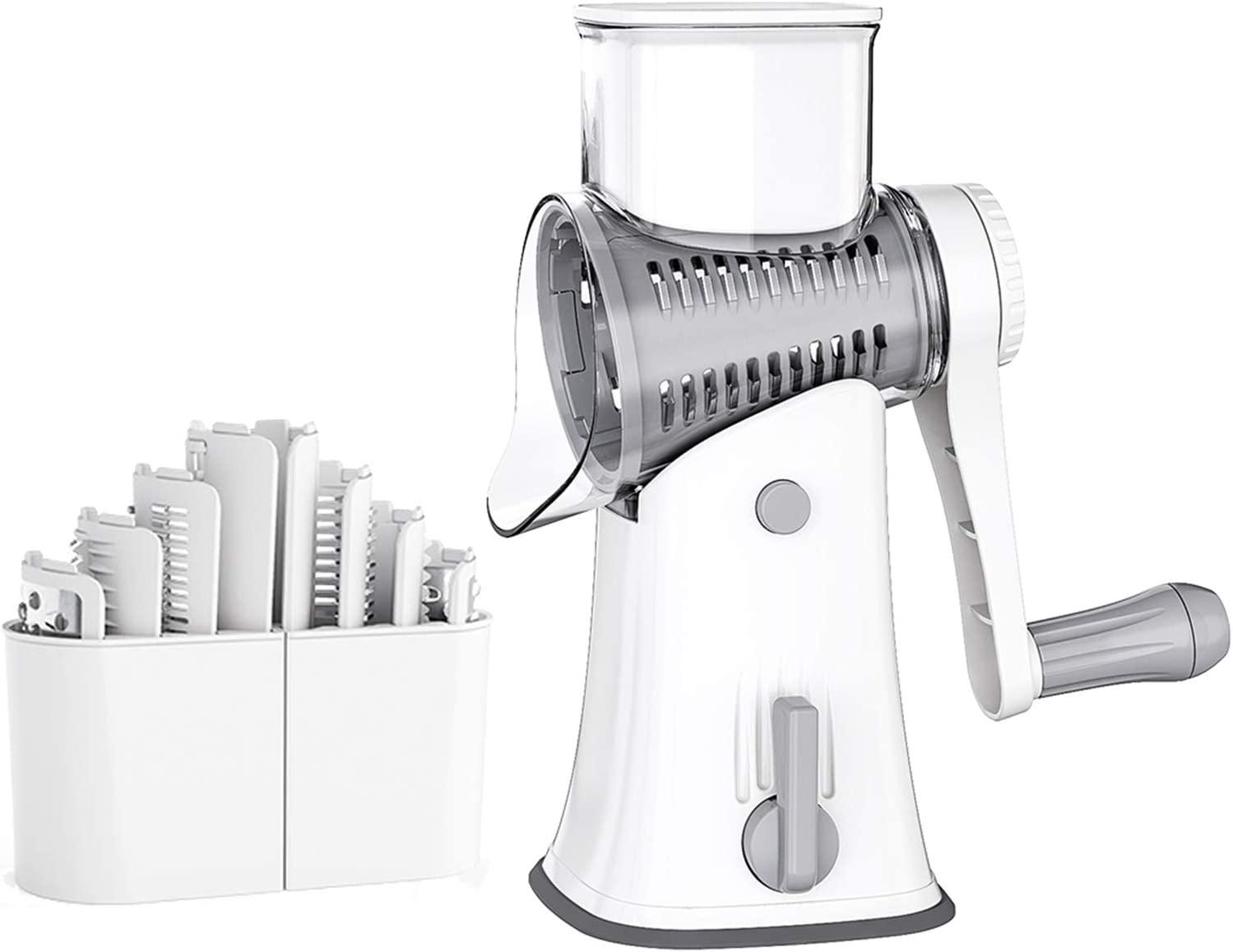 Aoloria Rotary Cheese Graters Round Mandoline Slicer Cheese Shredder Vegetable Slicer Walnuts Grinder with Strong-Hold Suction Cup Base and 5 replaceable blade(White)