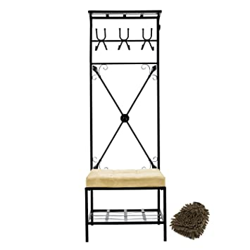 Astonishing Amazon Com Sei Black Metal Entryway Storage Bench With Coat Caraccident5 Cool Chair Designs And Ideas Caraccident5Info